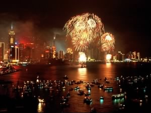 Chinese New Year Fireworks in Hong Kong