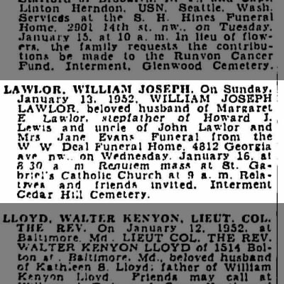 William Joseph LAWLOR's death notice, Washington Post DC 1952.