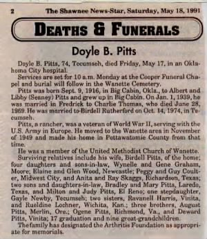Doyle Pitts funeral card
