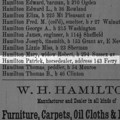 Hamilton Patrick, horsedealer, address 143 Ferry