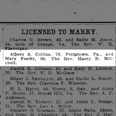 Albert S. Collins marriage