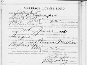 Arlan Soapes, Winnie Walker Marriage Bond