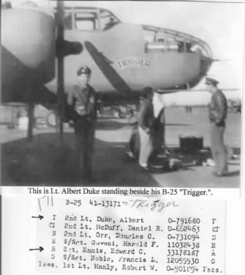 Lt Albert Duke, Pilot, B-25 Mitchells in the MTO 321stBG,447thBS - Fold3.com