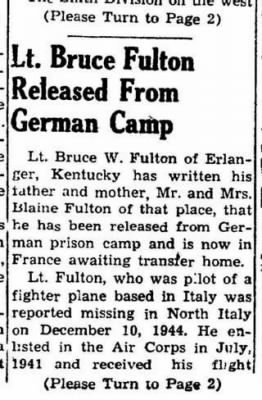 Lt Bruce W Fulton, Fighter Pilot /Nwespaper Article (1 of 3)
