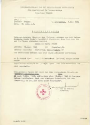 Red Cross Death Notice for Anne Frank