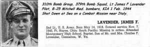 Lt Jimmy Lavender was flying the B-25 #42-64840 G out of Gambut, Lybia on a SEA SWEEP