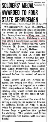 Lt Robt. Negle, KIA. 13 Sept.'44 from Charleroi Mail, PA. 15 Sept.'1944