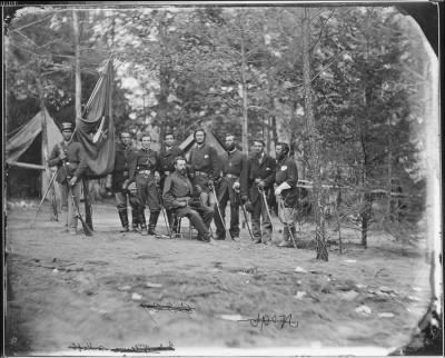 Mathew B Brady Collection of Civil War Photographs › B-11 General O.B. Wilcox and Staff. Colonel McElroy. Captain Christian Roth. - Fold3.com
