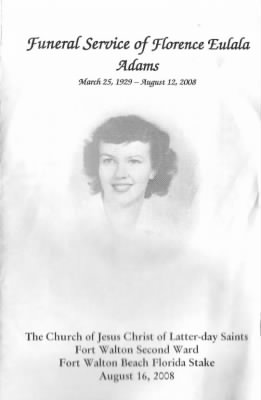 "Funeral Program of Florence Eulala ""Lala"" Adams"