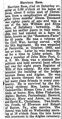 Harrison Ross Obituary(29 NOV 1919, New Holland Clarion)