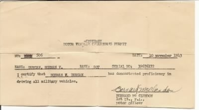 FH-FAMD-019r Norman Van Duncan's Temperary military drivers license from his wallet -- 10 Nov 1943.jpg
