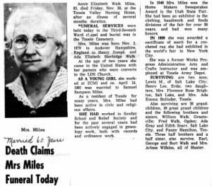 Annie Elizabeth Walk (Miles) Obituary -- 30 Nov 1963