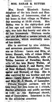 Sarah E Eckerty Rutter Obituary; from 7 Dec 1923 New Holland Clarion