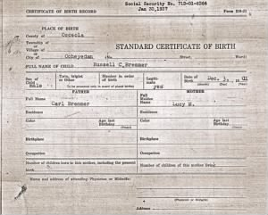 Russell Carl Bremmer - Birth Certif. Correct Copy
