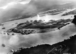 Photo of BATTLESHIP ROW, Explosion is the USS Oklahoma.