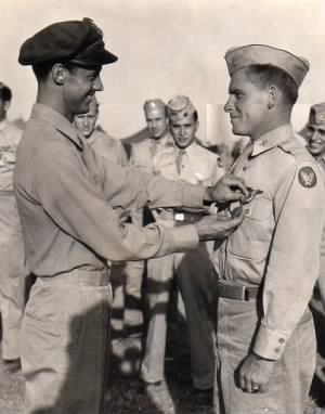 Roland L Greene receiving Air Medal from Col. Frank Kurtz, Italy, 1944