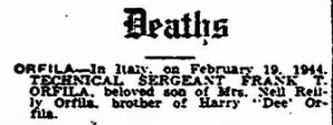 Newspaper notice of Frank's Death.  23 April, 1944.