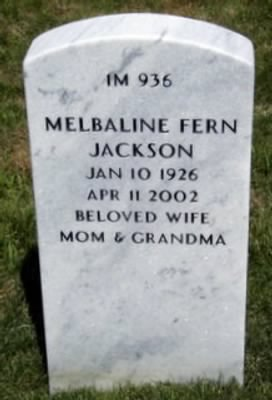 Headstone for Melbaline Fern Brewer *Jackson at J.B. Nat. Cem. St Louis, MO, USA