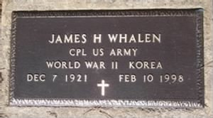 Headstone for CPL James Hubert Whalen