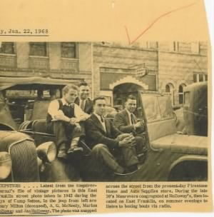 Henry Milton & friends in jeep, Monroe, NC, c1941-42
