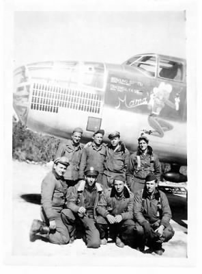 321stBG,445thBS, Lt Dan Bowling with his Combat B-25 MAMA and his CREW on Corsica.