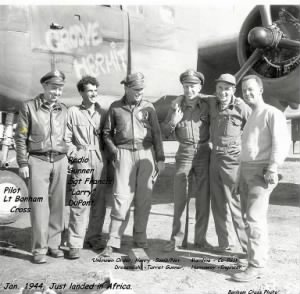 Lt Bonham Cross and his Crew enc. Francis Larry DuPont, 1944 N.Africa
