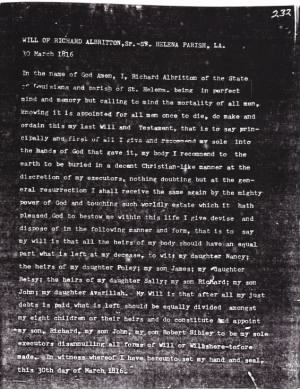 Will of Richard Albritton Page 1