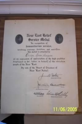 Near East Relief Award Certificate