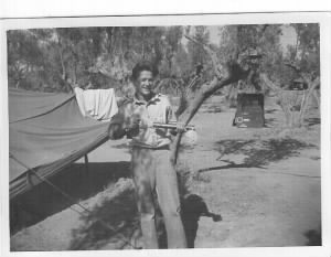 Lt George Ghetia, in the tent-area in North Africa, MTO WWII B-25 Bombardier