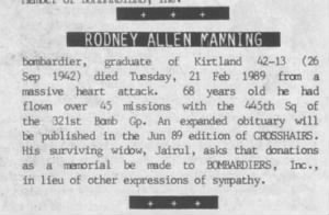 Rodney Allen Manning /Obituary from the Bombardier's Newsletter, 1989