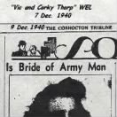 "9 Dec.1940 Newspaper article about the ""WEDDING of Vic and Corky"" 7 Dec.1940"
