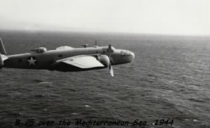 "Low Flight altitude of the ""Sea-Sweep"", B-25 Mitchell over the Mediterranean Theatre"