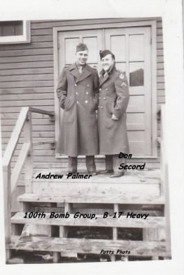 100th BG B-17's.... Palmer and Secord (Looks COLD!) /Potts Photo