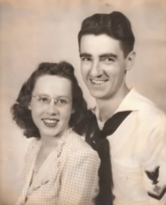 Betty and Bill at Saufley Field-1945 before Bill shipped out to San Diego - Fold3.com