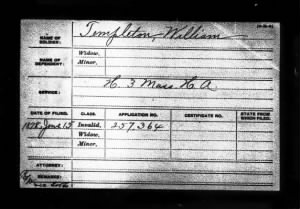 William Templeton Civil Pension Record