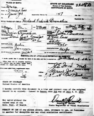 Harland Frederick Ormsbee Birth Certificate