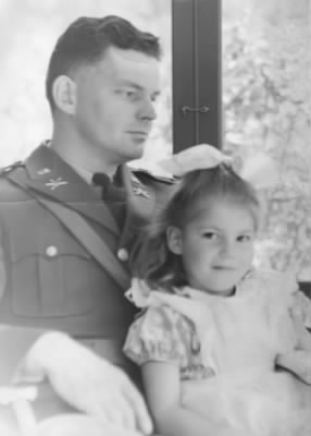 "Wellesley, MA, 1941, Capt. E. Richards ""Dick"" Carle & daughter, Jill, 5"
