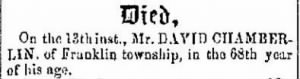 David Chamberlin 1857 Death Notice.JPG