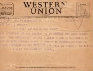 March 3, 1945 Telegram to Mary R Briggs-husband is MIA