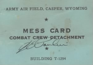 William B. Briggs Mess Card