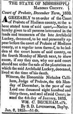 Archibald Lackey 1834 Probate Notice.JPG