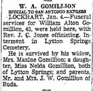 Wm Alton Gomillion 1950 Funeral Notice.JPG
