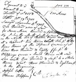 Joseph Eaton in Jas Moore 1785 Land Survey.jpg
