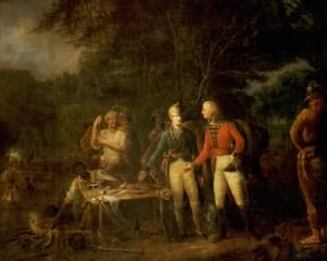"""General Marion Inviting a British Officer to Share His Meal"""