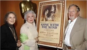 "Evelyn Keyes, left, in 2002 with two of her ""Gone With the Wind"" co-stars, Ann Rutherford and Rand Brooks."