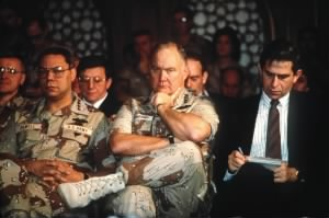 Norman Schwarzkopf listening to Secretary of Defense Dick Cheney