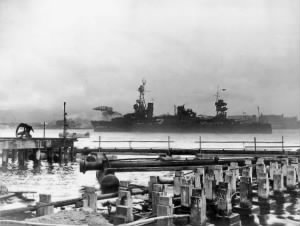 USS Northampton enters Pearl Harbor after the attack