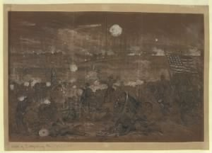 Battle of Gettysburg. Longstreet's attack upon the left center of the Union lines. Blue Ridge in distance.jpg