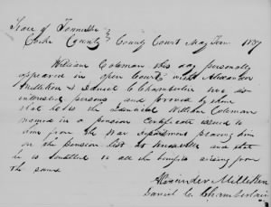 Daniel C Chamberlain 1837 Cocke Co Witness W Coleman Rev War Pension App.JPG