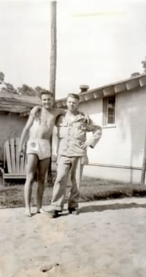 1945 Jack Novak on right in fatigues.jpg